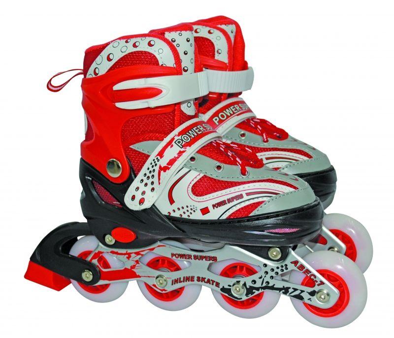 Роликовые коньки Power Superb (светятся колеса), красные, р. 30-33