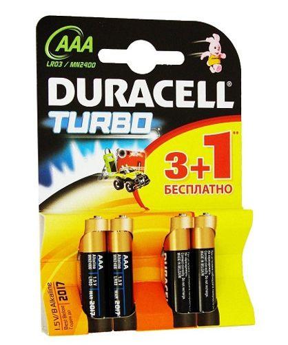 Алкалиновые батарейки Duracell Turbo - AAA 1.5V LR03, 4 шт.