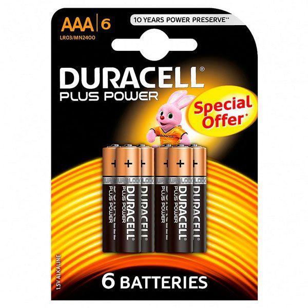 Батарейки алкалиновые Duracell Basic AAА 1.5V LR03, 6 шт.