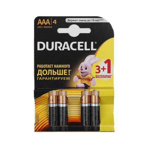 Алкалиновые батарейки Duracell Basic - AAA 1.5V LR03 MN 2400, 4 шт.