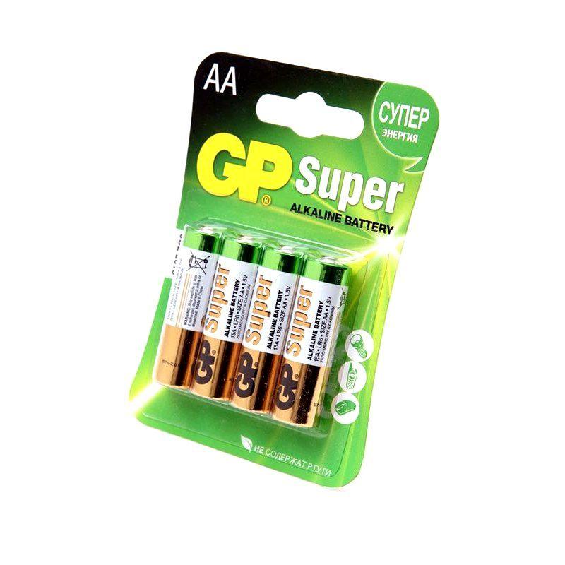 Набор из 4 пальчиковых батареек GP Super