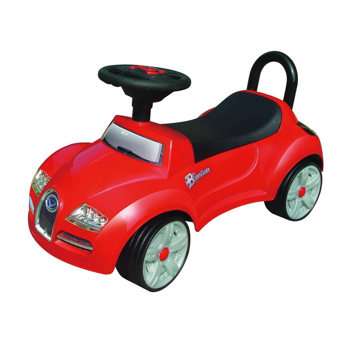 Машинка-каталка со спинкой (свет, звук), красно-черная