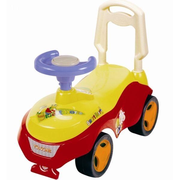 """Машина-каталка с ручкой """"Джип"""" (звук), красно-желтая"""