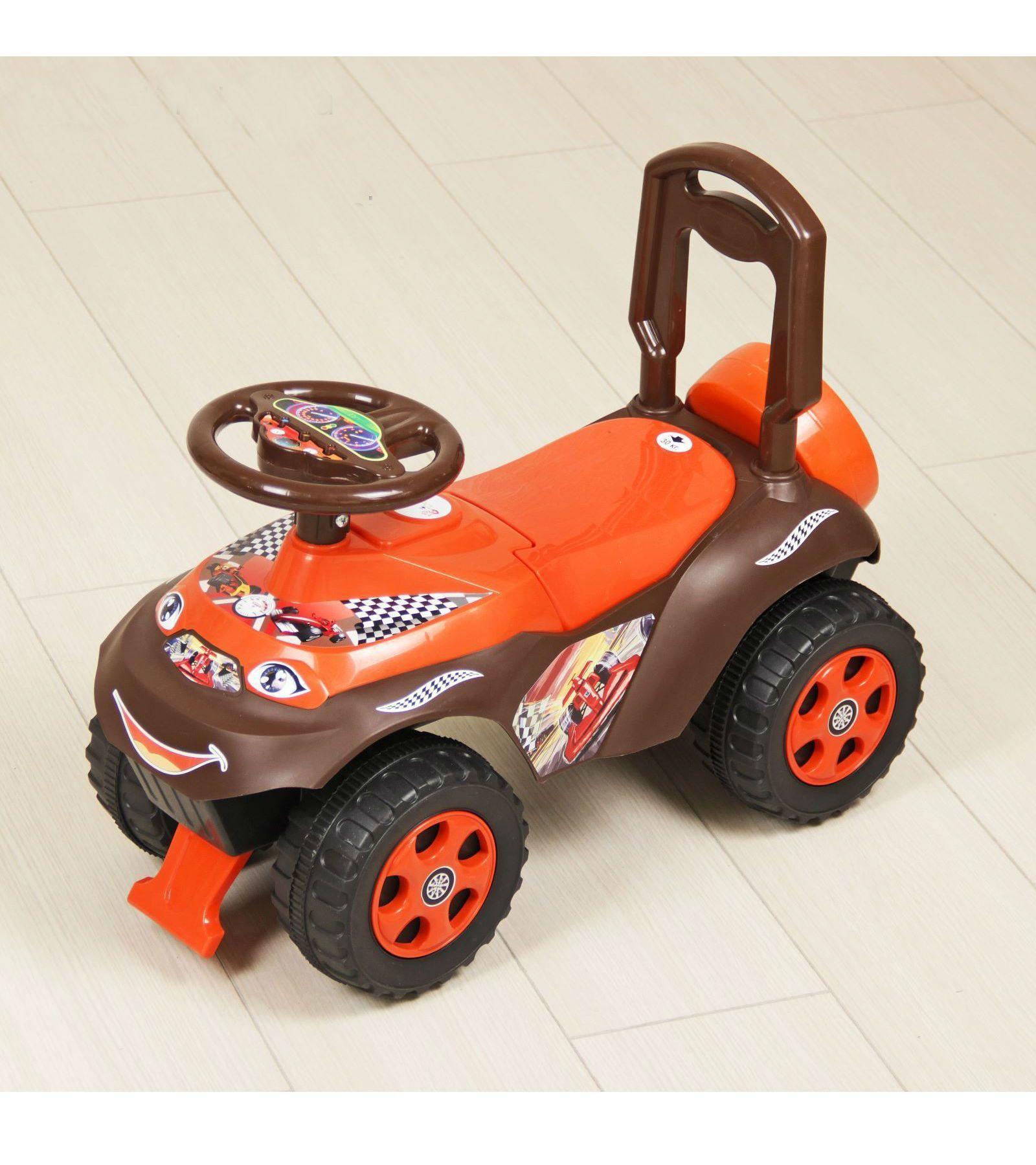 "Машинка-каталка ""Повозка"", оранжево-коричневая"