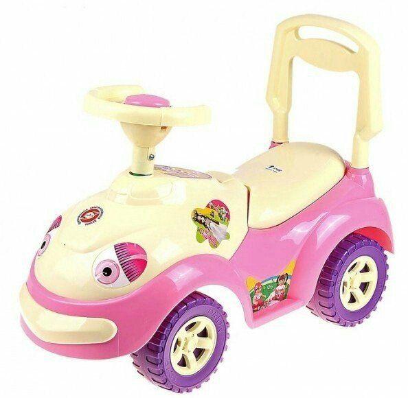 "Машинка-каталка ""Луноходик"", желто-розовая"