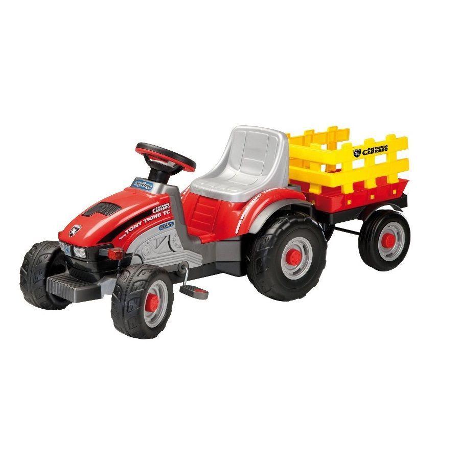 Детский трактор с педалями Peg-Perego Mini Tony Tigre с прицепом