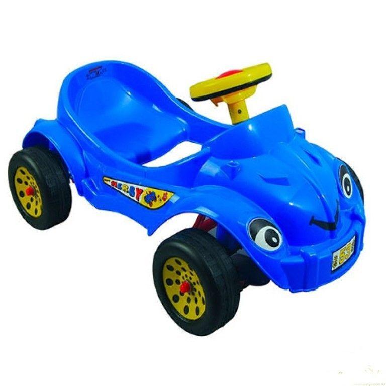 Педальная машина Happy Herby с клаксоном, синяя