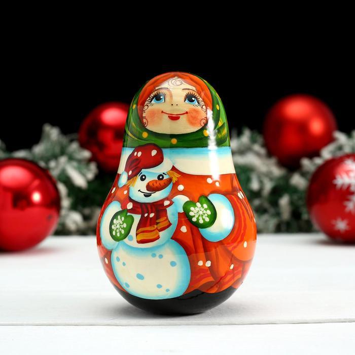Неваляшка «Девочка со снеговиком», 11х6 см, ручная роспись