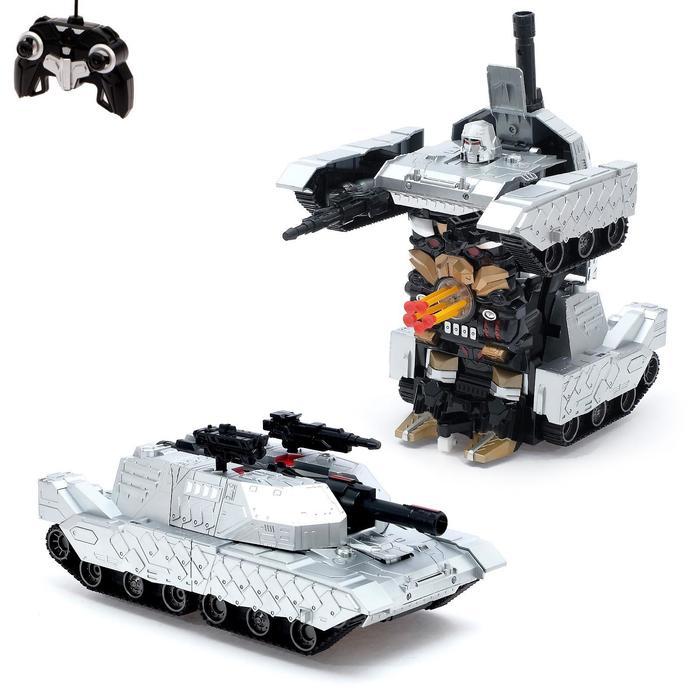 Робот-трансформер радиоуправляемый «Танк», работает от аккумулятора, масштаб 1:10, цвет серый