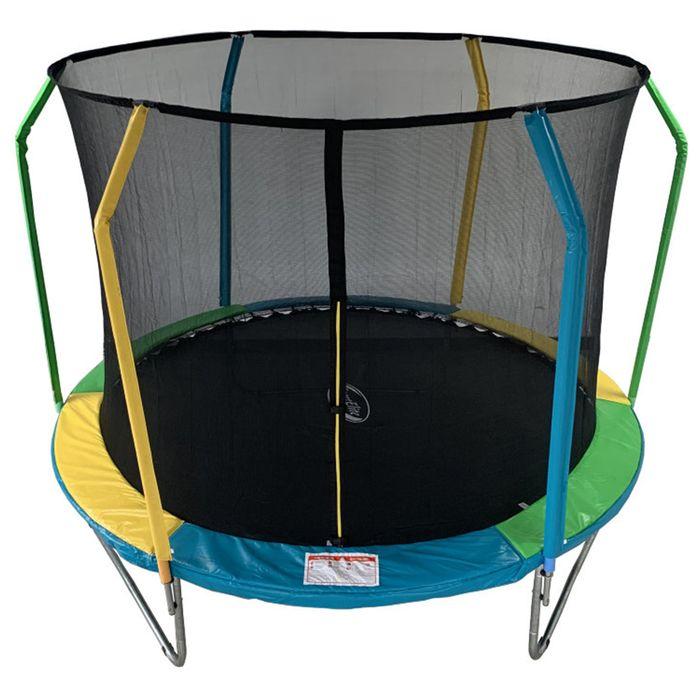 Батут 8 ft, d=244 см, фиберглас, с внутренней защитной сеткой, разноцветный