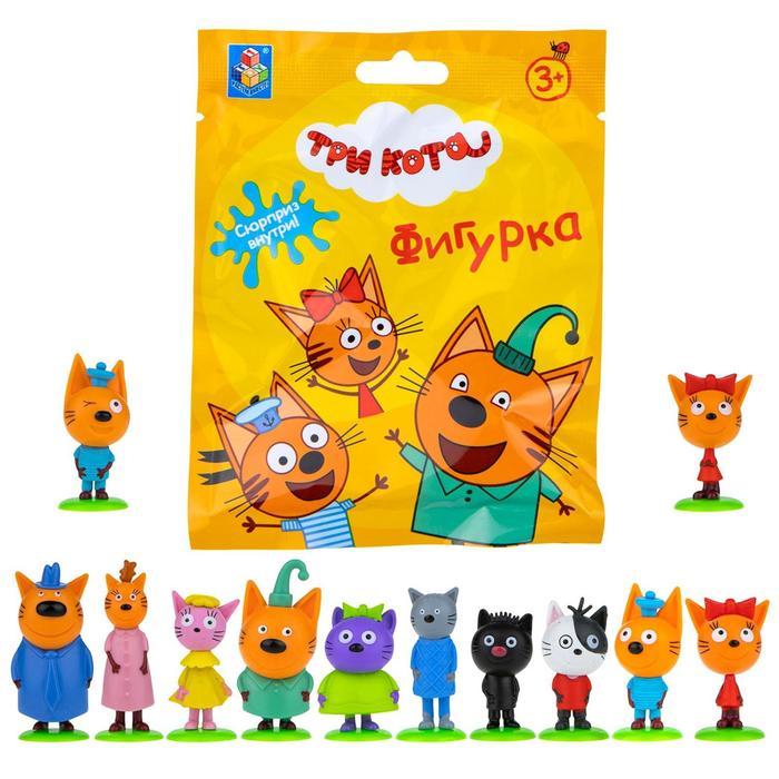 Игровой набор «Три кота», фигурки на подставке 12 видов 4-6,5 см, пазл 9 элементов