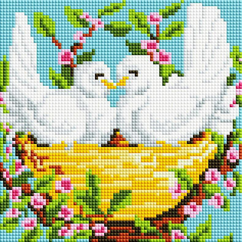 """Мозаика на подрамнике """"Пара голубей"""""""