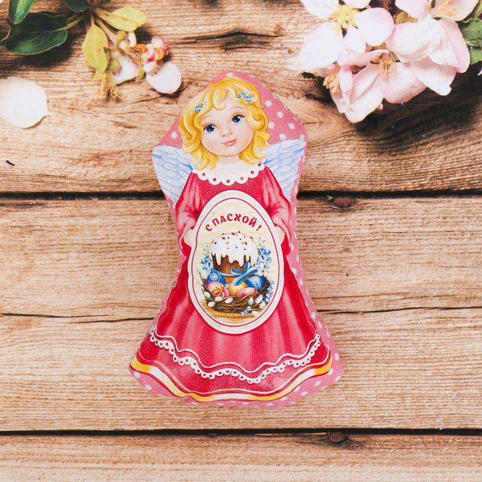 Пасхальный сувенир на магните «Ангел с куличом»