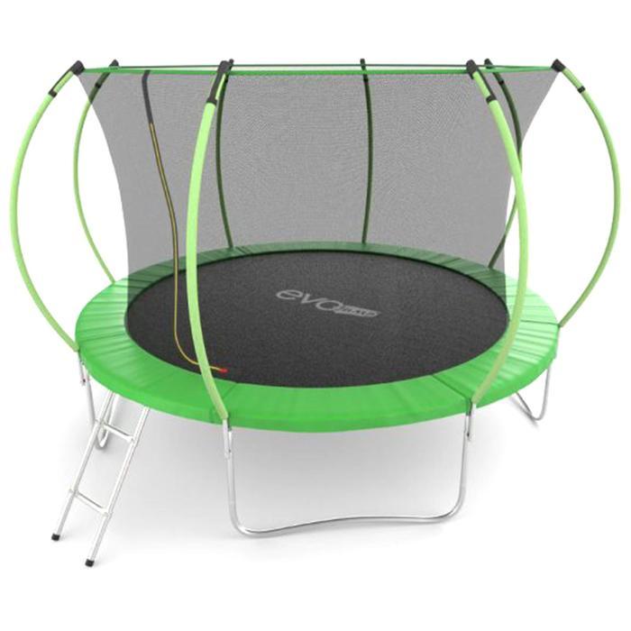 Батут EVO JUMP Internal 12 ft, d=366 см, с внутренней сеткой и лестницей, зелёный