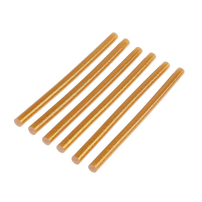 Клеевые стержни TUNDRA, 11 х 200 мм, золотистые с блестками, 6 шт.