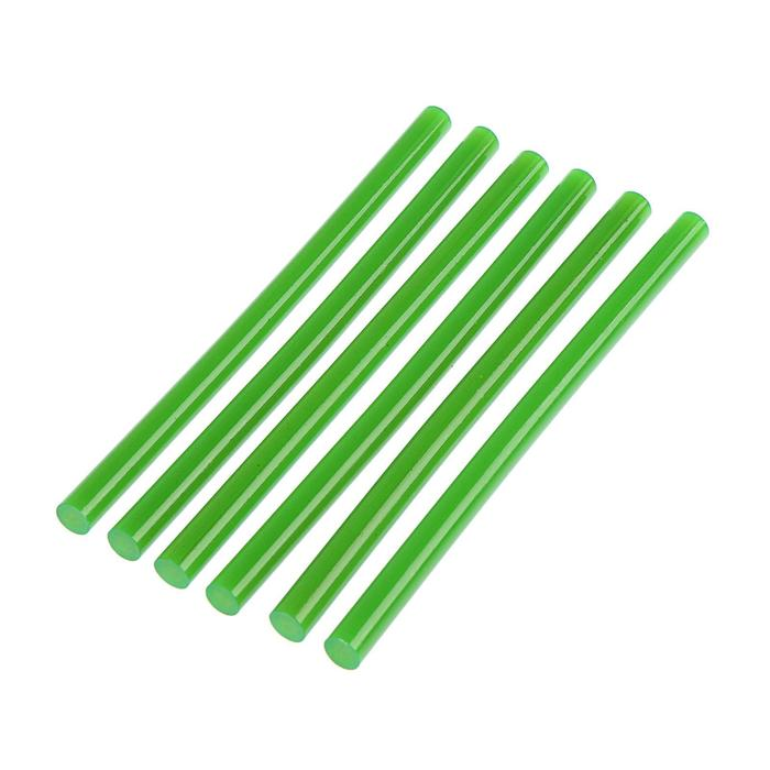 Клеевые стержни TUNDRA, 11 х 200 мм, зеленый, 6 шт.
