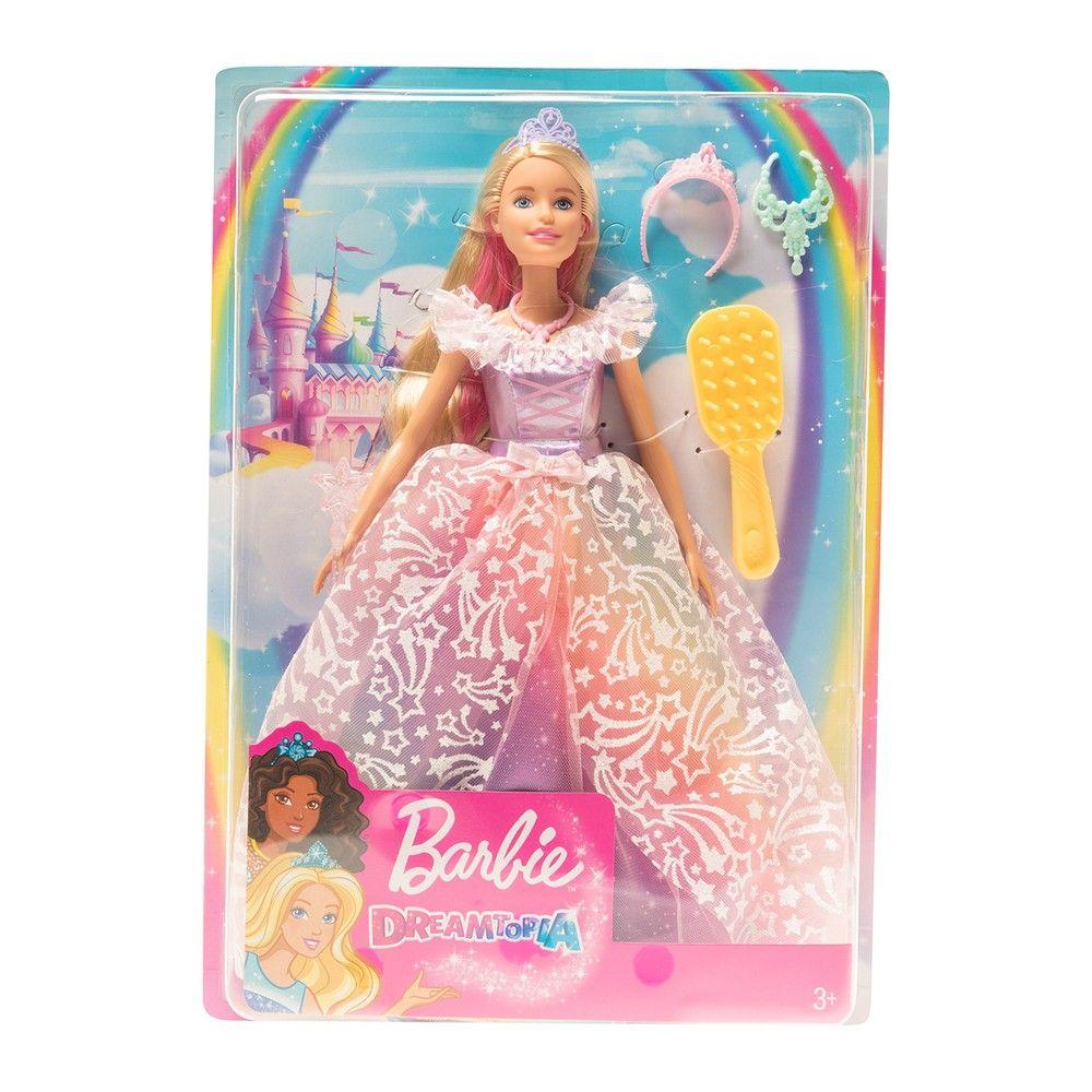 Кукла Barbie принцесса, серия Dreamtopia, со светлыми волосами и розовым платьем со звездами, в наборе с аксессуарами