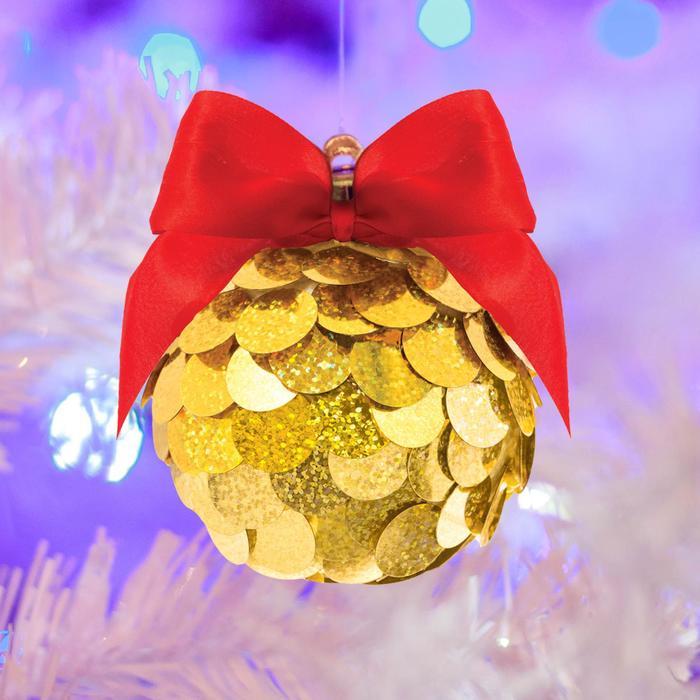 Набор для творчества. Создание новогоднего шара с пайетками, золотой