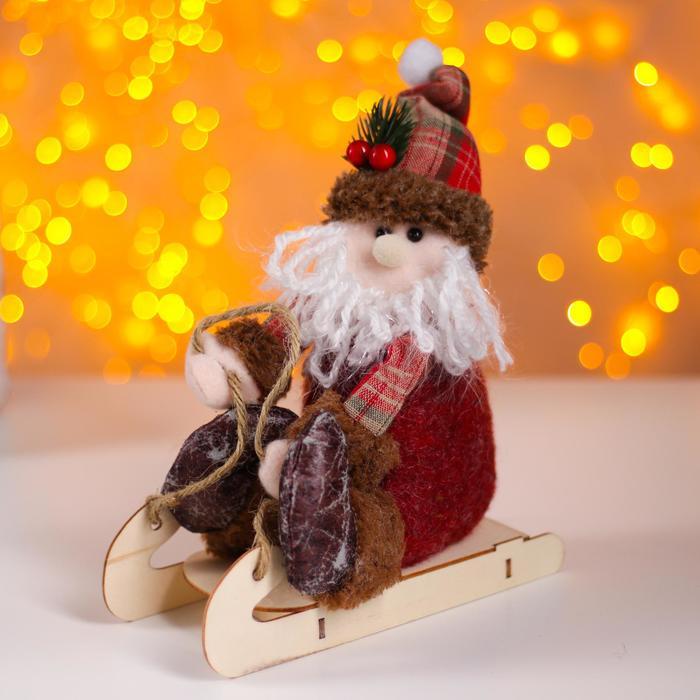 Мягкая игрушка «Дед Мороз на санках»