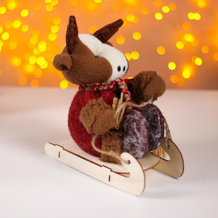 Мягкая игрушка «Бычок на санках»