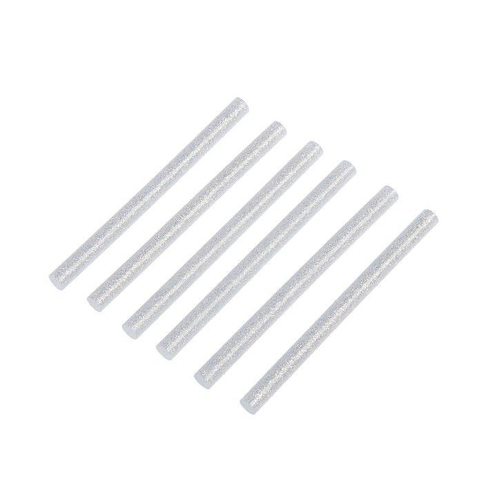 Клеевые стержни TUNDRA, 7 х 100 мм, серебристые с блестками, 6 шт.
