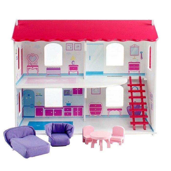 Кукольный дом «Виктория», с интерьером и мебелью, 5 предметов