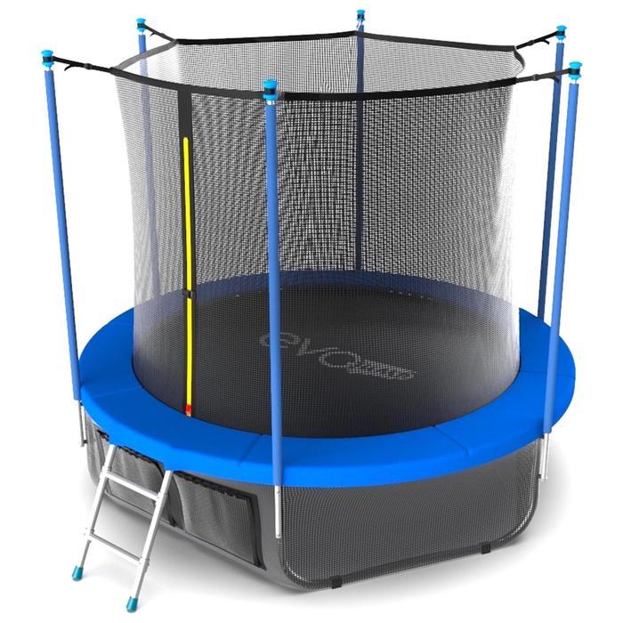 Батут с териленовой сеткой и лестницей EVO JUMP Internal 10ft SKY, диаметр 305 см, цвет синий