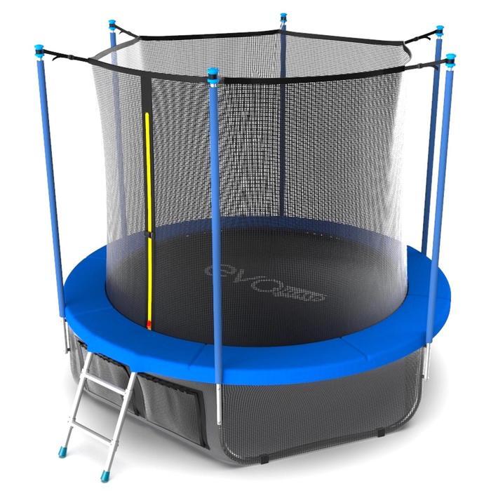 Батут с териленовой сеткой и лестницей EVO JUMP Internal 12ft SKY, диаметр 366 см, цвет синий