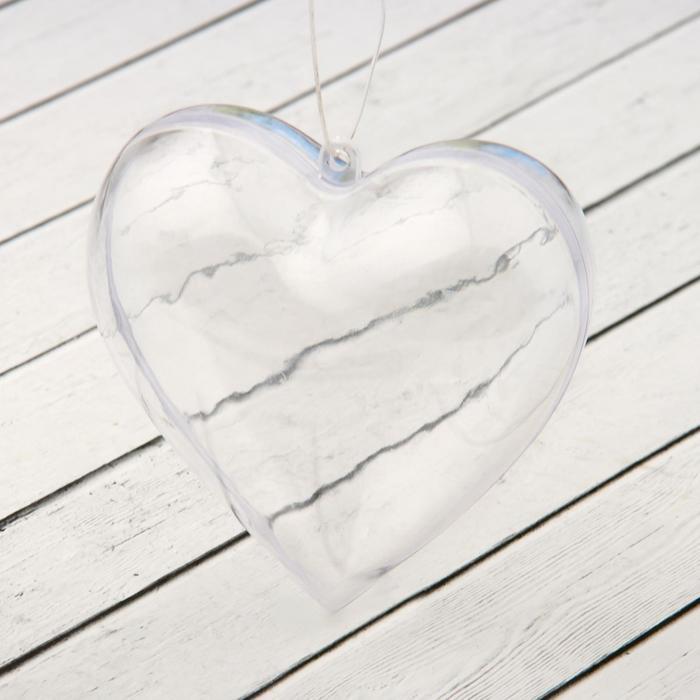 """Заготовка-подвеска, раздельные части """"Сердце"""", размер собранной: 8×8×3 см"""