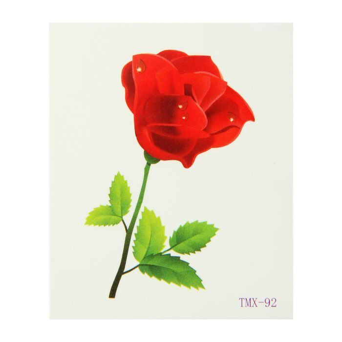 """Татуировка на тело """"Красная роза"""""""