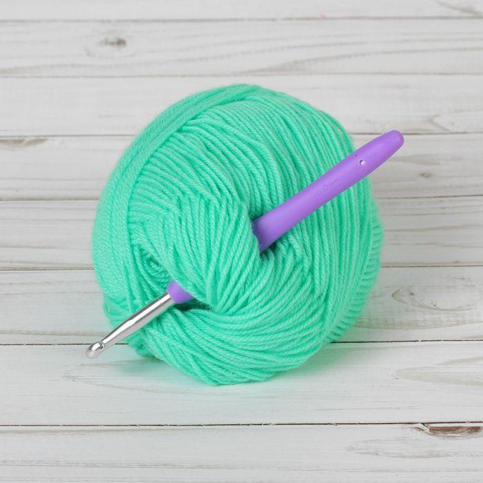 Крючок для вязания металлический, с силиконовой ручкой, d=6мм, 14см, цвет в ассортименте