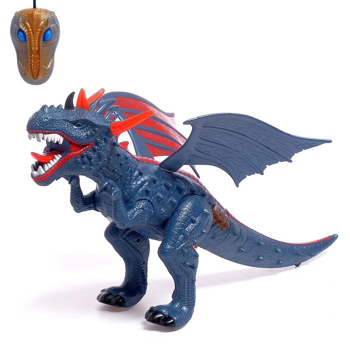 Динозавр радиоуправляемый «Дракон», дышит паром, световые и звуковые эффекты, работает от батареек