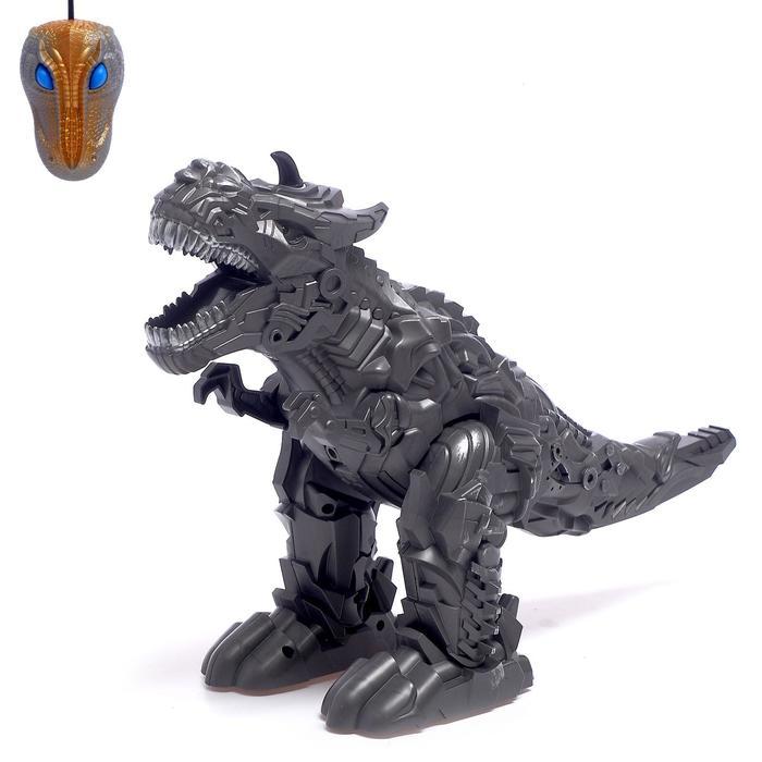 Динозавр-робот радиоуправляемый «Рекс», эффект дыма, свет и звук, работает от батареек