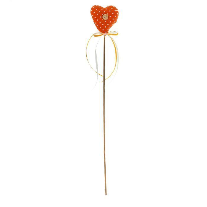 Мягкая игрушка на палочке «Сердце с пуговкой», бантик, цвета в ассортименте