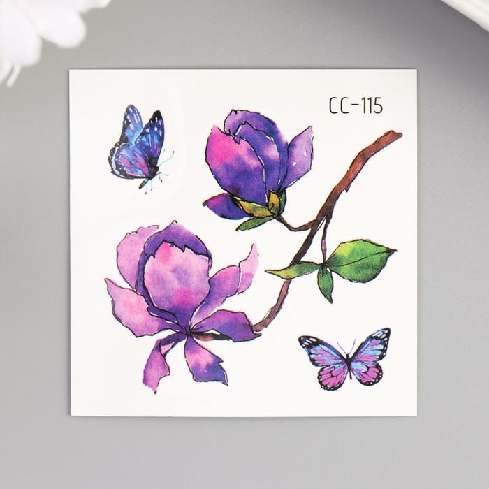 """Татуировка на тело цветная """"Сиреневые цветы и бабочки"""" 6х6 см"""