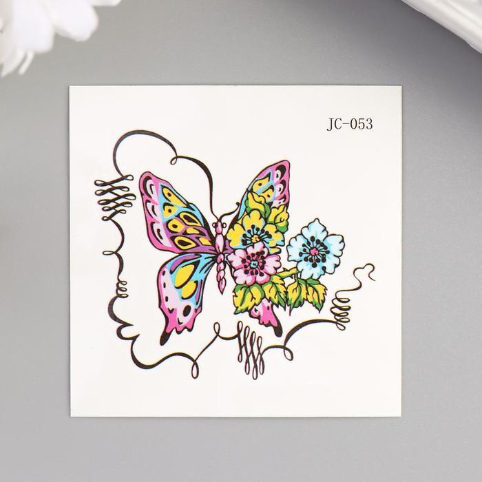 """Татуировка на тело цветная """"Бабочка и цветы"""" 6х6 см"""