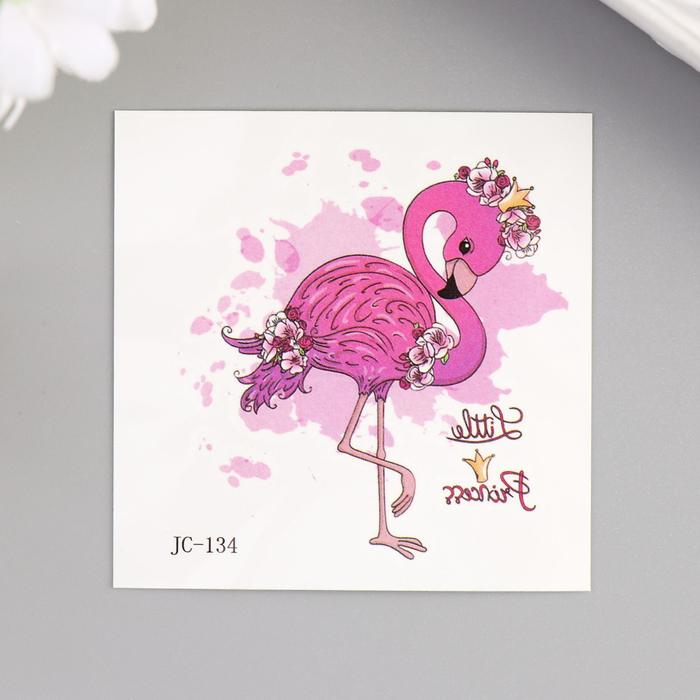 "Татуировка на тело цветная ""Фламинго с цветами"" 6х6 см"