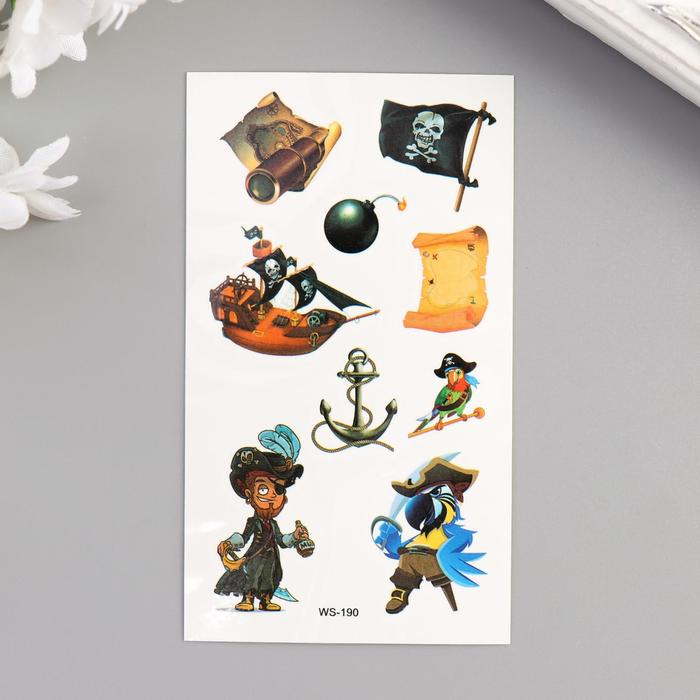 """Татуировка на тело цветная """"Пираты"""" 10,5х6 см"""