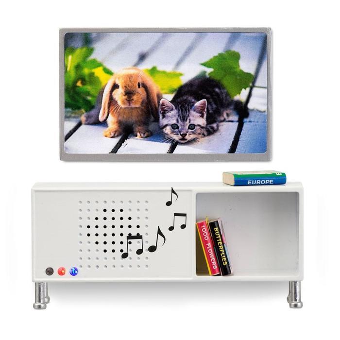 Мебель для домика, музыкальный центр и телевизор, цвет белый