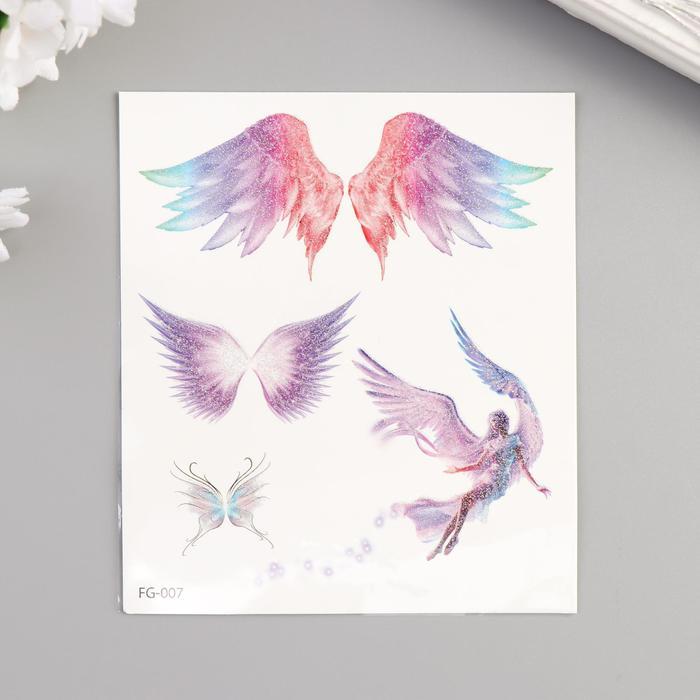 """Татуировка на тело цветная с блёстками """"Крылья"""" 12х10,5 см"""