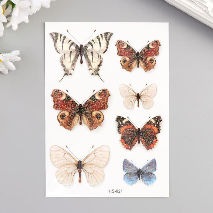 """Татуировка на тело цветная с блёстками """"Бабочки"""" 14,7х10,5 см"""