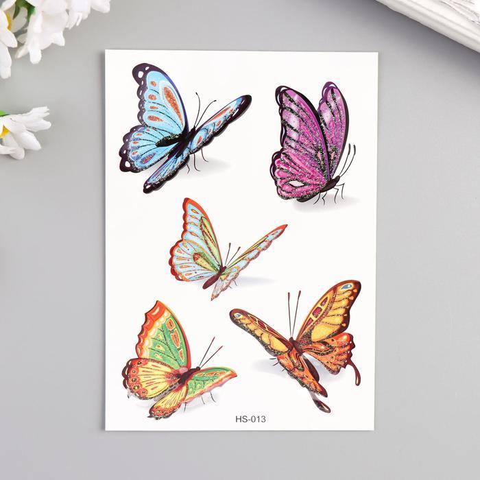 """Татуировка на тело цветная с блёстками """"Бабочки в полёте"""" 14,7х10,5 см"""