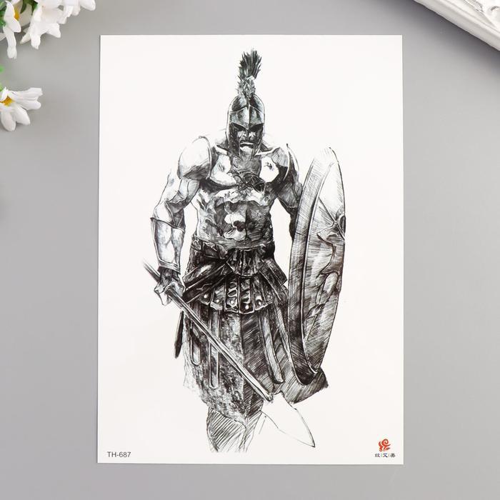 """Татуировка на тело чёрная """"Воин"""" 21х15 см"""