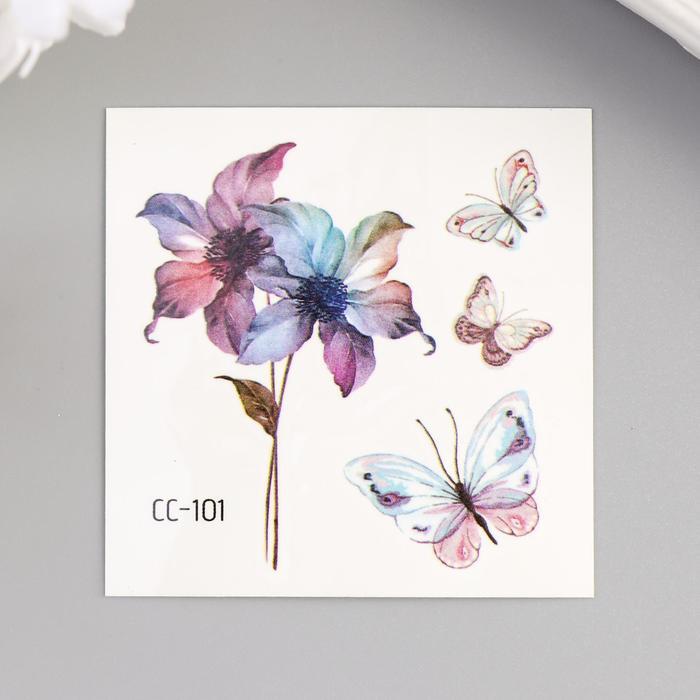 """Татуировка на тело цветная """"Акварельные цветы и бабочки"""" 6х6 см"""