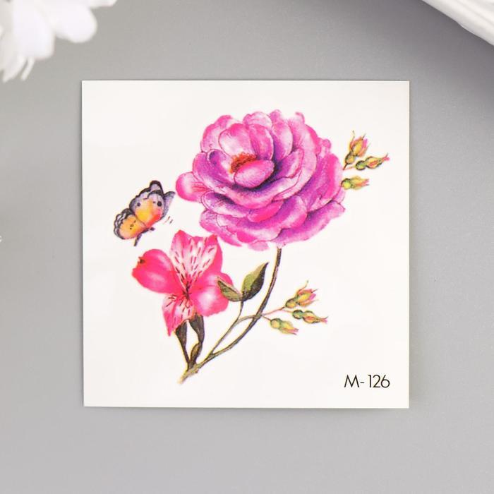 """Татуировка на тело цветная """"Пион и лилия с бабочкой"""" 6х6 см"""