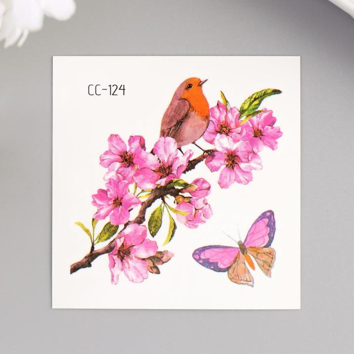 """Татуировка на тело цветная """"Шиповник и птичка с бабочкой"""" 6х6 см"""
