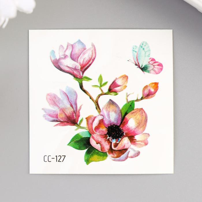 """Татуировка на тело цветная """"Цветущий шиповник с бабочкой"""" 6х6 см"""