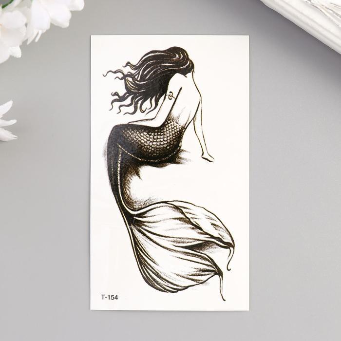 "Татуировка на тело чёрная ""Русалка"" 10,5х6 см"
