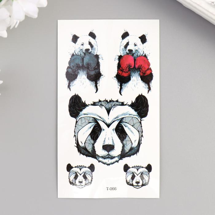"""Татуировка на тело цветная """"Панда-боксёр"""" 10,5х6 см"""