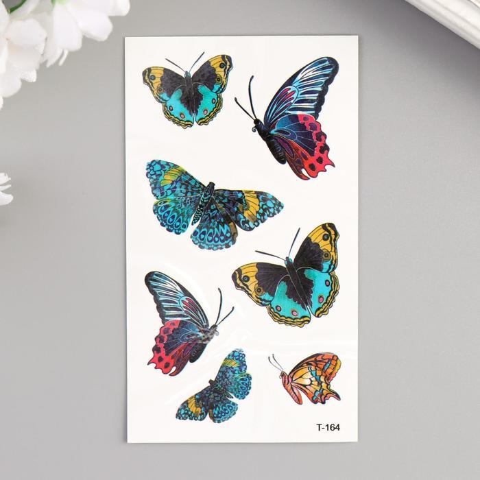 "Татуировка на тело цветная ""Бабочки"" 10,5х6 см"